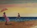 Strandtafereel - Dame en heer op fiets